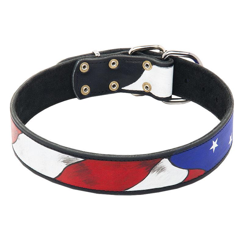 Collar para perro pitbull de cuero dibujado bandera for Collares para perros